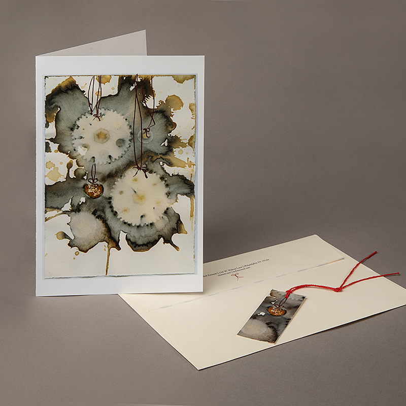 Image of Holiday Card with Pattern made from Rusty Gears