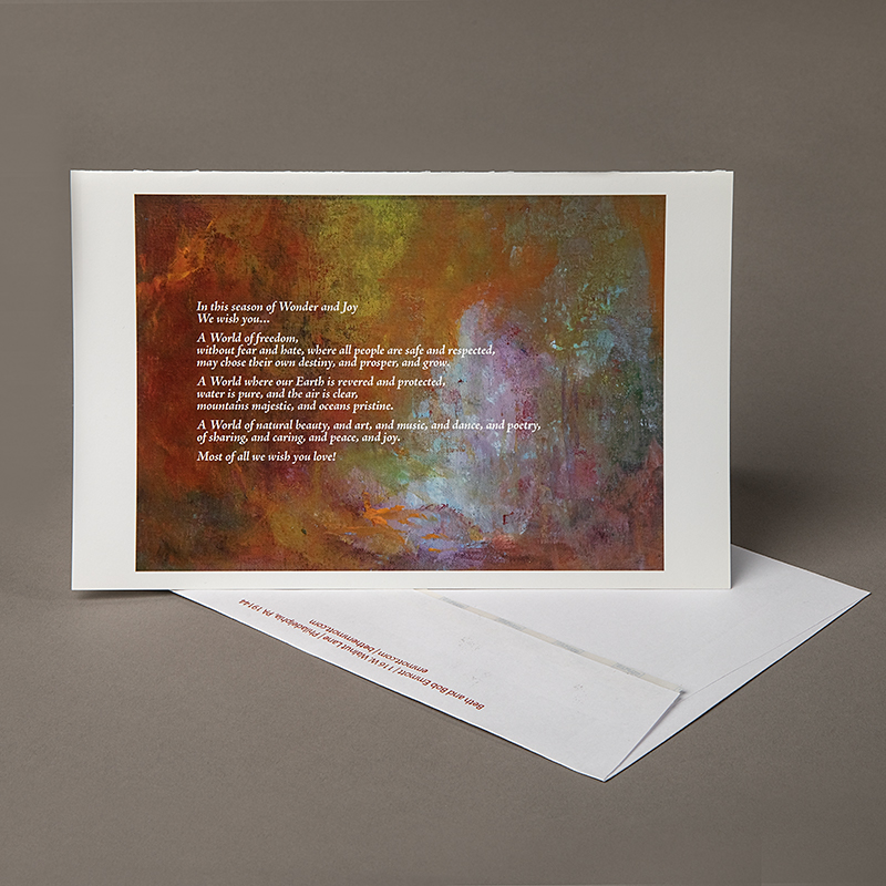 Image of Holiday Card with Poem on abstract background