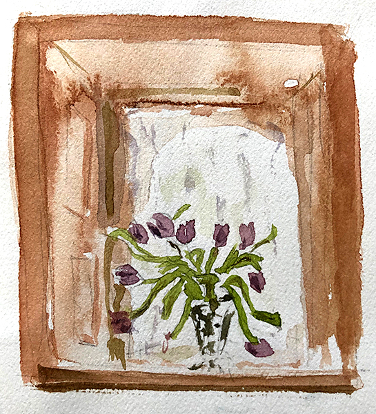 Image of first quick sketch of tulips